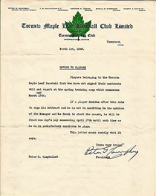 1946 Toronto Maple Leafs baseball team original player letter signed by the prez