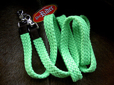 Roping Knotted Horse Tack Western Barrel Reins Nylon Braided Romal Green 60761