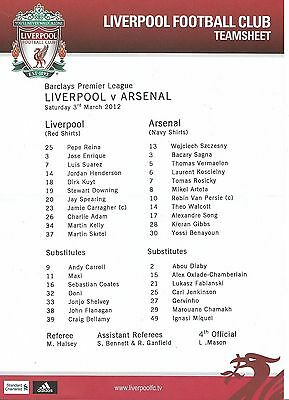 Football Teamsheet LIVERPOOL v ARSENAL Mar 2012