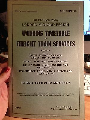 BR London Midland Region Working Timetable Sect CY Freight Trains May 1986 Crewe