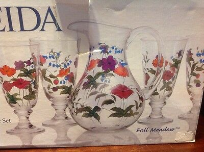 Oneida Handpainted 5pc. Beverage Set Fall Meadow Glass Pitcher & 4 Tumblers