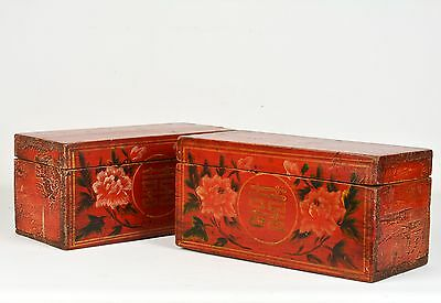 Pair of Attractive Likely 19th C. Chinese Wooden Lacquered and Decorated Boxes