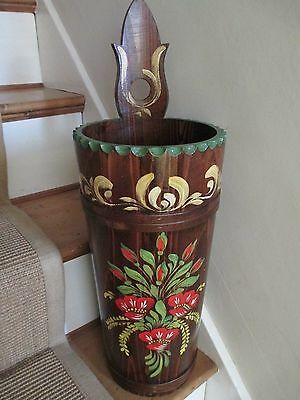 Hand Painted Solid Wood Canal Ware Canal Art Bargeware Umbrella Stand Pot Bucket