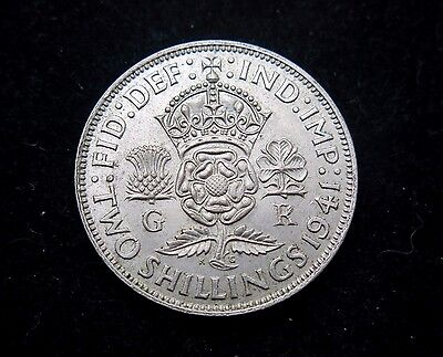 1941 King George VI Silver Florin / Two Shillings (.500) [ Very Nice Example]