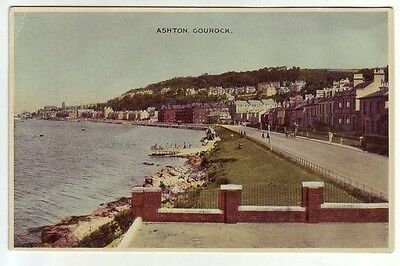 Ashton Gourock Renfrew WW2 1940's ETW Dennis Old Postcard Postally Unused