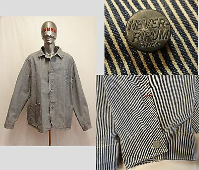 VTG 1930's-40's RAILROAD ENGINEERS Striped Denim Work Chore Jacket Never-Ripum