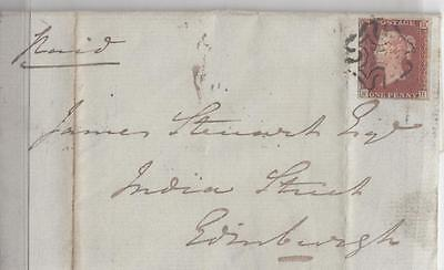 GB SUPERB IMPERF 4 MARGIN 1d RED ON COVER WITH NICE MX TO EDINBURGH 1842