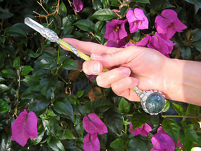 "9-1/2"" CRYSTAL / STONE MAGIC WAND Healing Scepter, Wicca, Witchcraft"