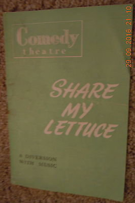 COMEDY THEATRE PROGRAMME - SHARE MY LETTUCE by BAMBER GASCOIGNE - SEPT 1957 -
