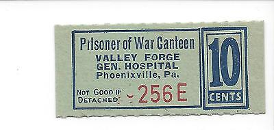 USA Valley Forge General Hospital POW Camp 10 Cents Chit  coupon token C8866