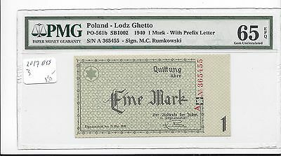Poland Lodz Ghetto 15-5-1940 1 Mark Feller & Feller PO 561b PMG 65EPQ GEM UNC