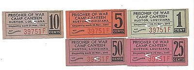 USA WW2 POW Camp Ruston, LA 1, 5, 10, 25,50 cents Serial 39751F Campbell 8478-82