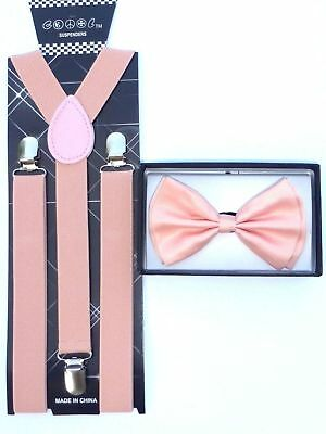 New Dusty Rose Peach Pink Suspender Bowtie Tuxedo Matching Collar Band Bow Tie