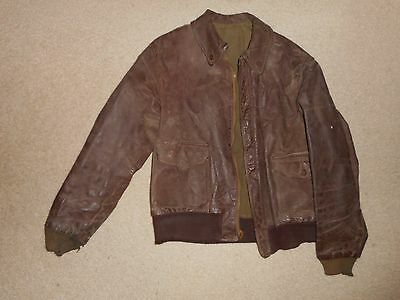 Original vintage WWII AAF Army Air Corps A2 leather flight jacket size 40 !!!