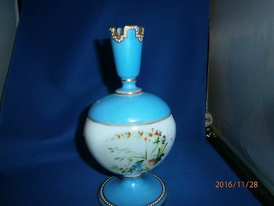 Art Glass Opaline Hand Painted Covered Pedestal Dish