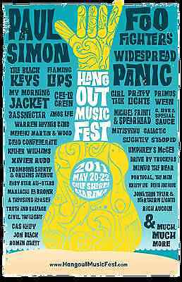 HANGOUT FESTIVAL 2011 GULF SHORES CONCERT POSTER-Paul Simon,Foo Fighters,Cee-Lo
