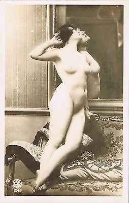 RPPC Studio Real Photo Postcard ~ Nude Woman Next To Her Reflection In Mirror
