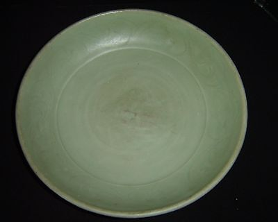 Antique Chinese Ming Longquan Glazed Celadon Charger Plate Scroll Border Design