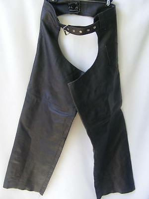 Xelement USA Chaps 34 Black Leather Motorcycle Rider Mens Biker Riding Gear M
