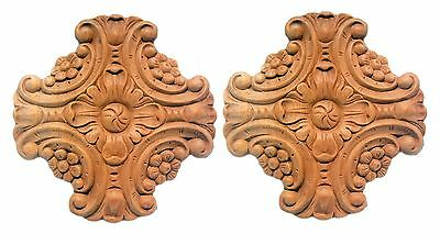 Set of 2 Carved Wooden Onlay Architectural Elements Unfinished