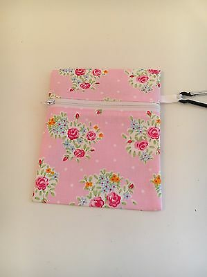 Dog Poop Bag Holder/Treats - Pink Floral Shabby Chic Fabric