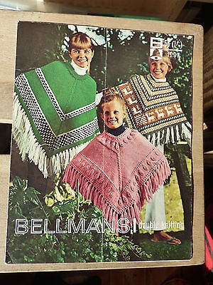 Vintage Pattern, 1970's, Knitted Ponchos to fit Girls & Teens, double knitting