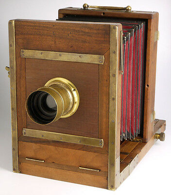 antique collodion Wood & Brass Plate Field Camera + lens + plate holder _ wooden