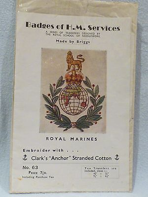 Vintage Military Needlework Briggs Embroidery Transfers Royal Marines