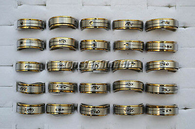 Wholesale 30pcs Stainless Steel Cut-Out Mixed Pattern 2 Layers Spinner Band Ring