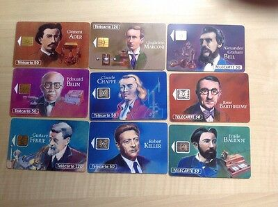 Phonecards France Nine Different Used Cards