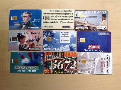 Nine Different Used Phonecards France
