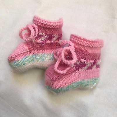 PINK MULTI COLOURED BABY BOOTIES 0 to 3 Months HAND KNITTED  Girl Bootees NEW