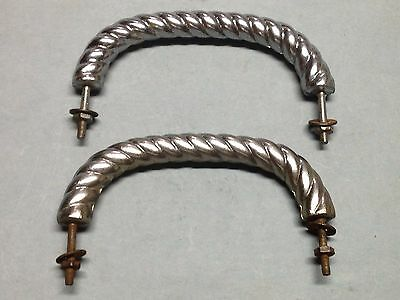 "2 Antique Vintage Nickel Brass Roped Art Deco 5 1/4"" Furniture Pull Handle Parts"