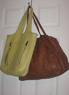 Lot Of 2 Great Kooba Bags All Leather Totes Yellow/brown