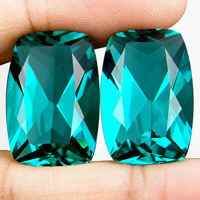 37.10 CT. MATCHING PAIR CUSHION GREEN BLUE PARAIBA NANO APATITE 21.2 x 14.2 MM