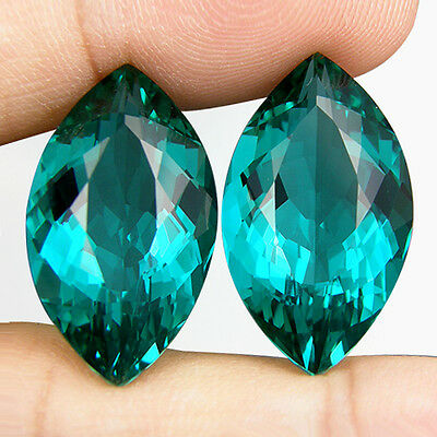 26.76 CT. MATCHING PAIR MARQUISE GREEN BLUE PARAIBA NANO APATITE 23.5 x 13.2 MM