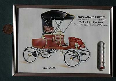 1960s Era Felton,Delaware Atlantic Oil & Gas wall thermometer-1903 Rambler Car!