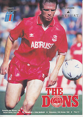Aberdeen v Ligia Warsaw 24 Oct 1990 Cup Winners Cup