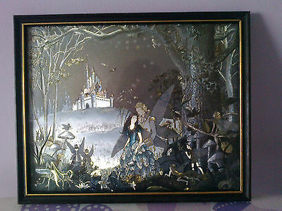 Rare Vintage Dufex Foil Fairy Print by Jean and Ron Henry,Down in the woods