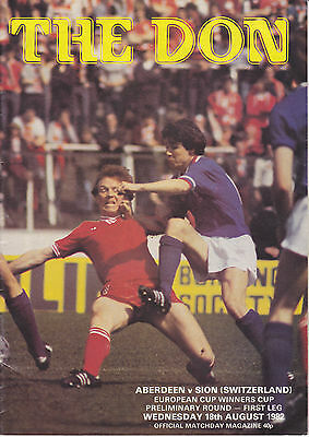 Aberdeen v Sion 18 Aug 1982 Cup Winners Cup