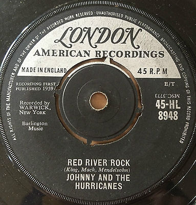 "JOHNNY & THE HURRICANES - ""Red River Rock"" 7"" UK Vinyl Single 1959 GD"