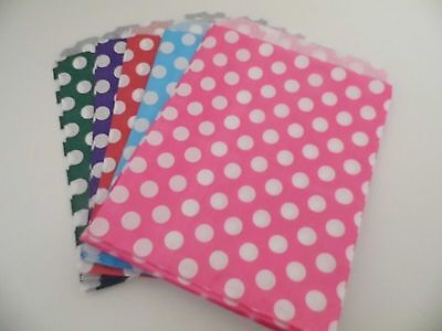 "Polka Dot Paper Various Colours Party Bags X 50   7"" X 9"""