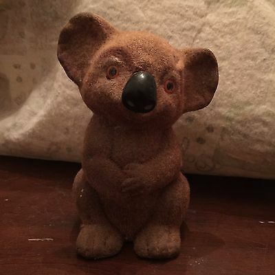 Vintage Flocked Fuzzy Koala Bear Plastic Bank With Stopper Made In Hong Kong