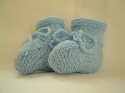 BABY BOOTIES PALE BLUE HAND  KNITTED 0 to 3 months Boy NEW Bootees Shoes