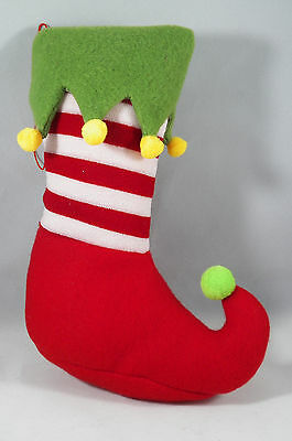Red, White and Green Elf Stocking Christmas Tree Ornament new