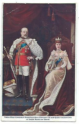 ROYALTY - KING EDWARD VII & QUEEN ALEXANDRA in ROBES OF STATE 1910 Postcard