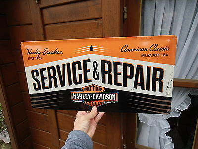 Official HARLEY-DAVIDSON Service & Repair Embossed Wall Sign - Made in Germany