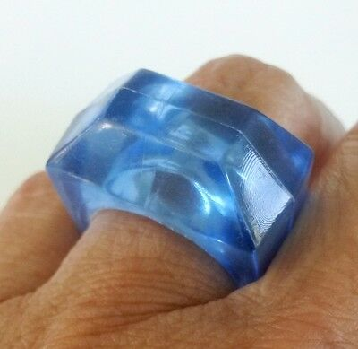Vintage Ice Blue Chunky Plastic Ring Size 7.5 Faceted Toy Ring