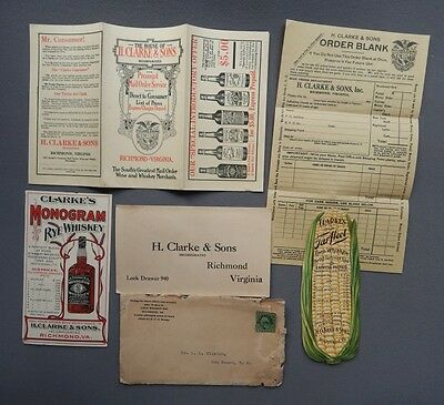 1910s H. Clarke & Sons Whiskey Brochure & Handouts - Richmond Virginia VA