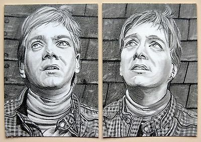 2 ORIGINAL ACEO sketch cards HARRY POTTER the Phelps twins FRED & GEORGE WEASLEY
